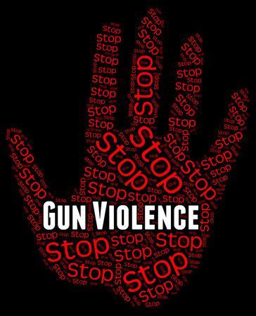 Stop Gun Violence Indicating Warning Sign And Firearms Reklamní fotografie