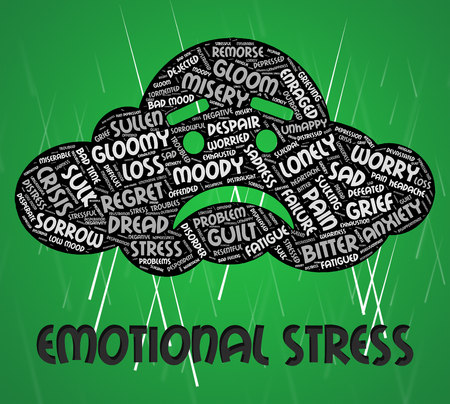 poignant: Emotional Stress Meaning Heart Rending And Wordcloud Stock Photo