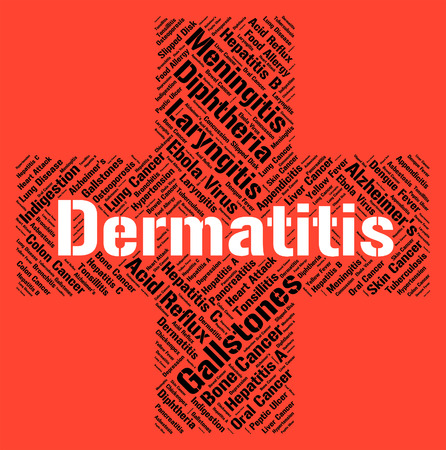 skin disease: Dermatitis Word Indicating Skin Disease And Diseased