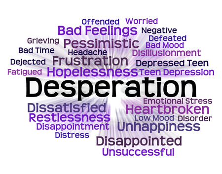 despairing: Desperation Word Representing Anguished Words And Text