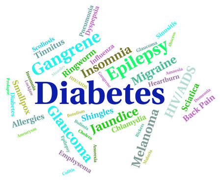 infections: Diabetes Word Indicating Ill Health And Infections