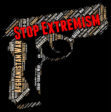 bigotry: Stop Extremism Showing Control Stopping And Wordclouds