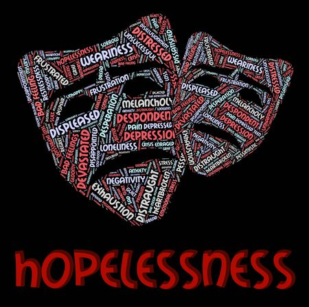 despairing: Hopelessness Word Meaning Despair Forlorn And Wordcloud Stock Photo