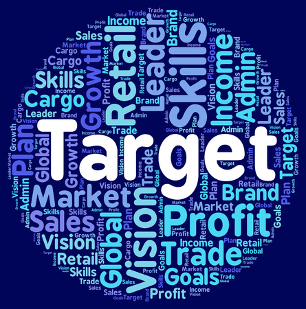 targetting: Target Word Indicating Desired Result And Wish Stock Photo