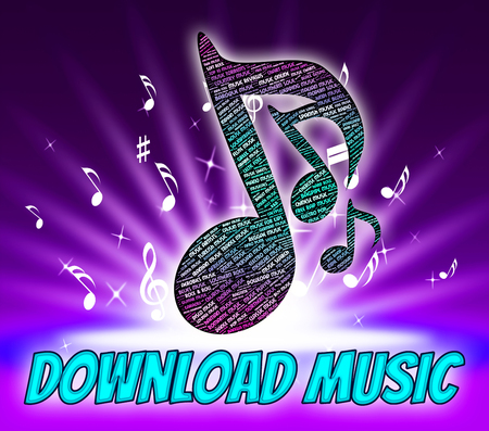 downloading: Download Music Indicating Sound Track And Downloading Stock Photo