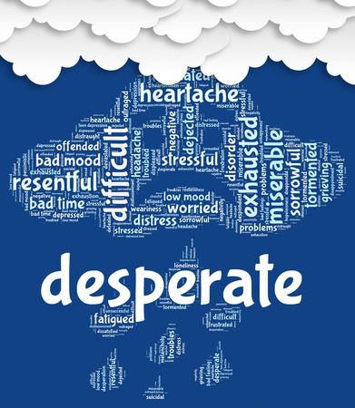 anguished: Desperate Word Representing Hopeless Distressed And Despairing