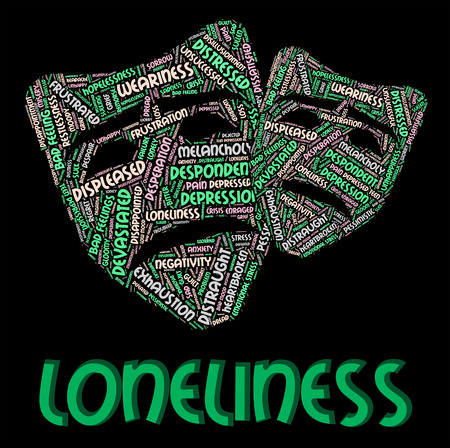 friendless: Loneliness Word Representing Lonesome Wordcloud And Abandoned
