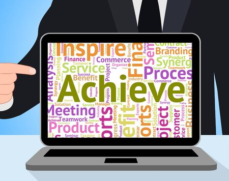 attainment: Achieve Word Showing Text Succeed And Success