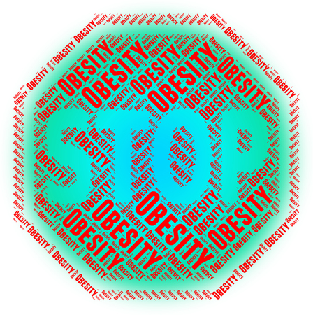 Stop Obesity Showing Warning Sign And Caution Imagens