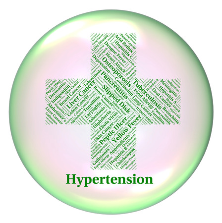 systolic: Hypertension Illness Representing High Blood Pressure And Poor Health Stock Photo