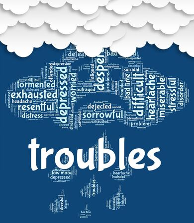 unsettled: Troubles Word Showing Wordcloud Difficult And Difficulties