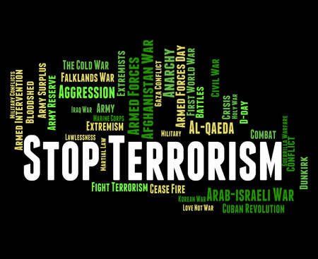 guerrilla: Stop Terrorism Showing Freedom Fighter And Revolutionary Stock Photo