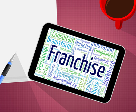 concession: Franchise Word Indicating Concession Words And Prerogative Stock Photo