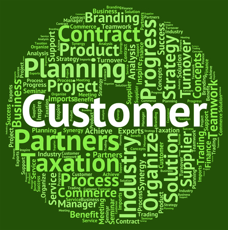 patronage: Customer Word Showing Patronage Wordcloud And Customers Stock Photo