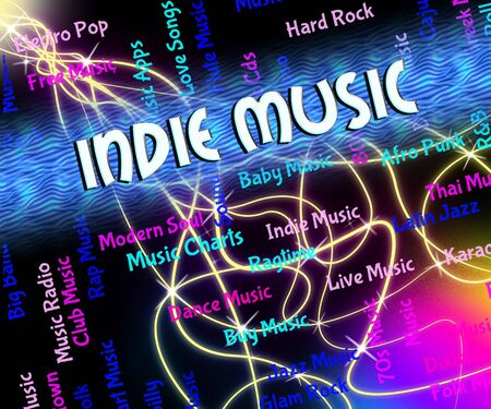 independently: Indie Music Showing Sound Tracks And Tune Stock Photo
