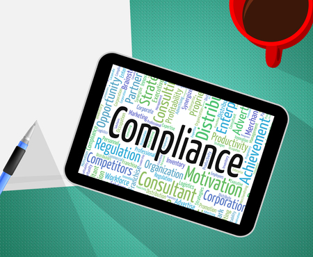 complied: Compliance Word Showing Agree To And Complying