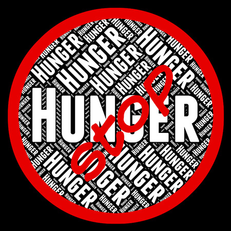 lack: Stop Hunger Indicating Lack Of Food And Warning Sign