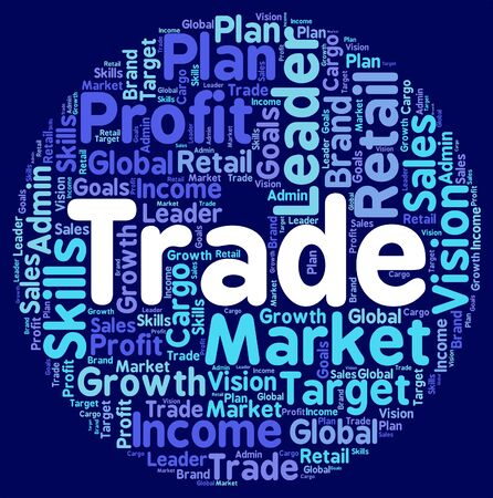biz: Trade Words Showing Export Selling And Biz Stock Photo