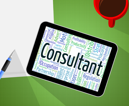 advisers: Consultant Word Meaning Consulting Adviser And Expert Stock Photo
