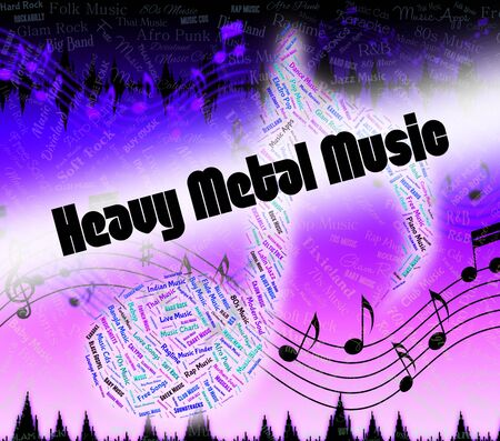heavy metal music: Heavy Metal Music Representing Sound Track And Metalhead Stock Photo