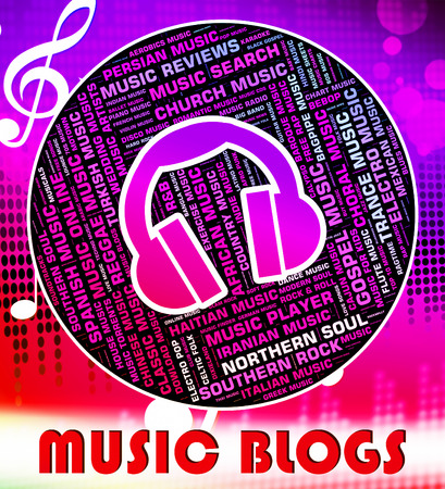 soundtrack: Music Blogs Representing Sound Tracks And Musical Stock Photo