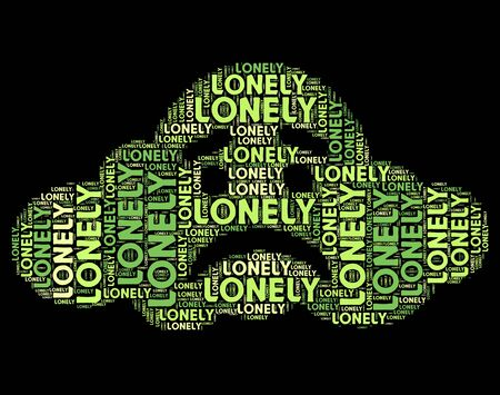 outcast: Lonely Word Showing Words Text And Outcast