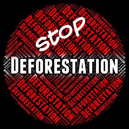 deforestacion: Detener la deforestación Significado cortado y Eliminar Foto de archivo
