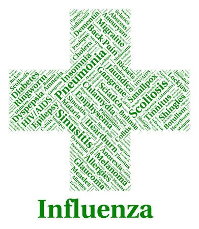 affliction: Influenza Sickness Showing Ill Health And Affliction
