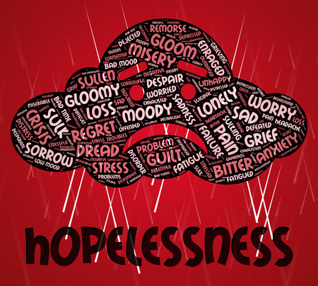 woebegone: Hopelessness Word Meaning In Despair And Dejected Stock Photo