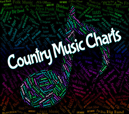 country music: Country Music Charts Representing Best Sellers And Harmonies