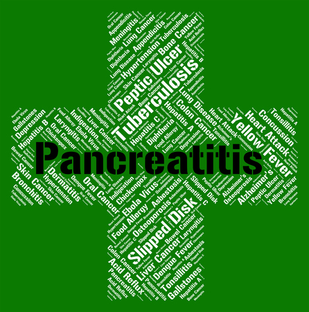 poor health: Pancreatitis Word Indicating Poor Health And Ailments