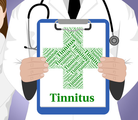 afflictions: Tinnitus Word Indicating Poor Health And Afflictions Stock Photo