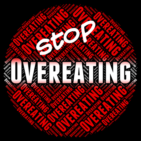 overeat: Stop Overeating Showing Too Much And Prohibit Stock Photo