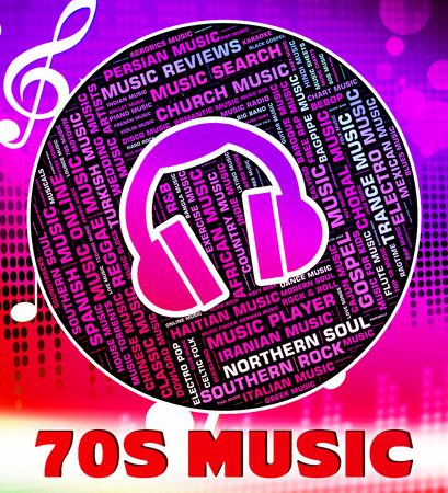 the seventies: Seventies Music Showing Sound Track And Harmonies Stock Photo