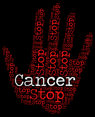 malignant growth: Stop Cancer Representing Warning Sign And Prohibit Stock Photo