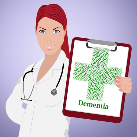 senile: Dementia Word Representing Ill Health And Infections