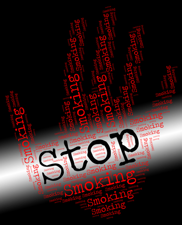 stop smoking: Stop Smoking Showing Warning Sign And Cigarette