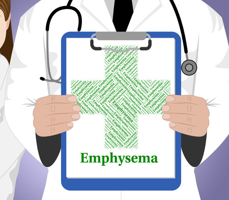 malady: Emphysema Word Representing Pulmonary Malady And Lung Stock Photo