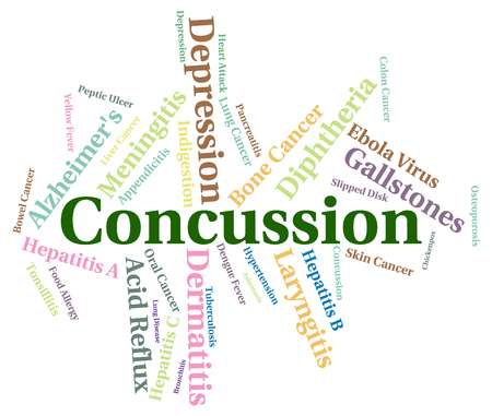 concussion: Concussion Word Indicating Ill Health And Text