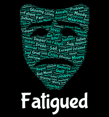 fatigued: Fatigued Word Showing Lack Of Energy And Drowsiness Tired