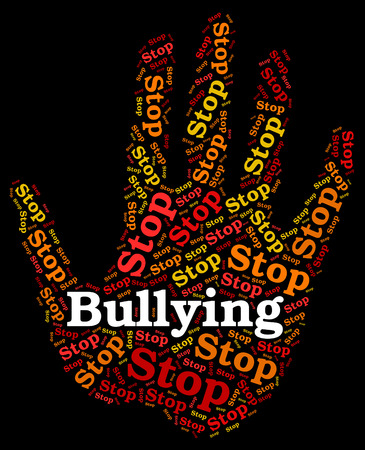 Stop Bullying Showing Push Around And Stopped Stockfoto
