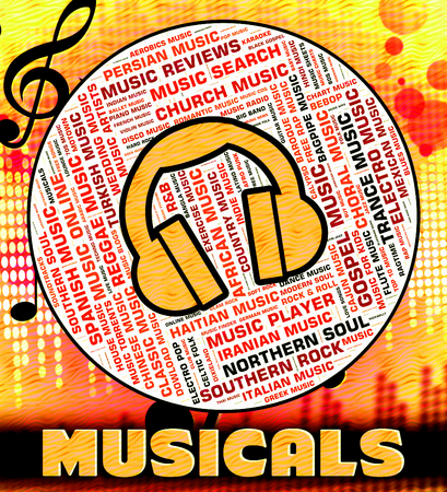 soundtrack: Musicals Word Meaning Sound Track And Harmonies Stock Photo