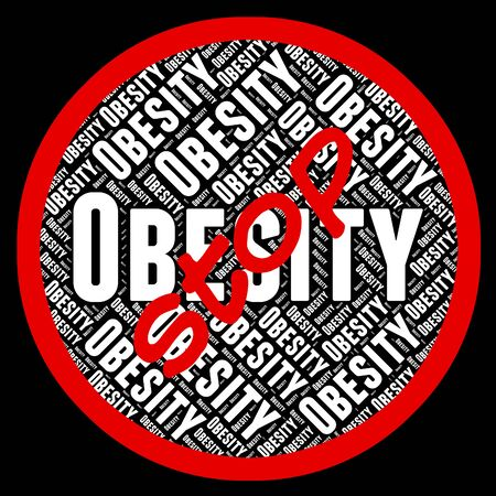 fatness: Stop Obesity Showing Warning Sign And Stout