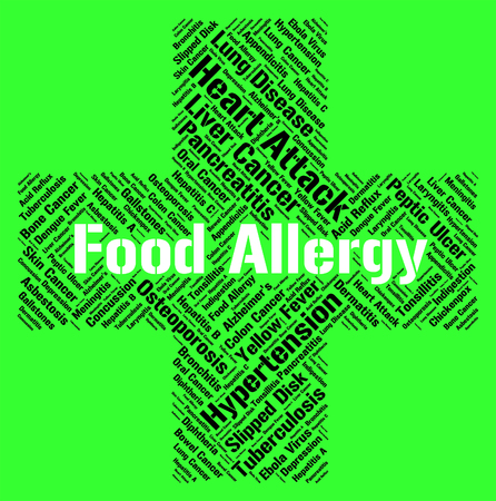 food allergy: Food Allergy Indicating Allergic Reaction And Eating Stock Photo