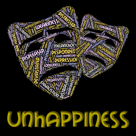 unhappiness: Unhappiness Word Meaning Grief Stricken And Sadly Stock Photo