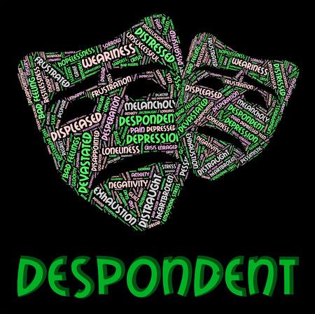 crestfallen: Abatido Palabra Significado Texto Desesperado y abatido Foto de archivo