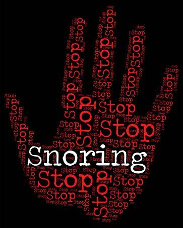 apnea: Stop Snoring Showing Obstructive Sleep Apnea And Warning Sign Archivio Fotografico