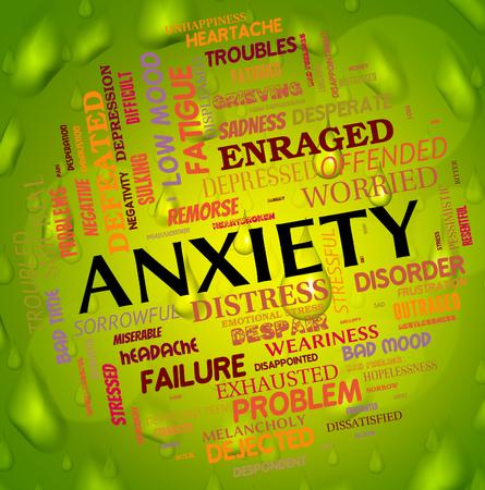 ansiedad: Ansiedad Palabra Mostrando preocupación agitación e inquietud Foto de archivo