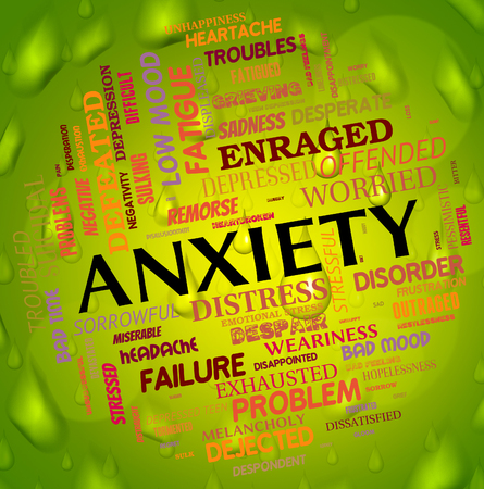 tenseness: Anxiety Word Showing Agitation Worry And Unease Stock Photo