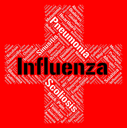 afflictions: Influenza Word Showing Disease Afflictions And Diseased